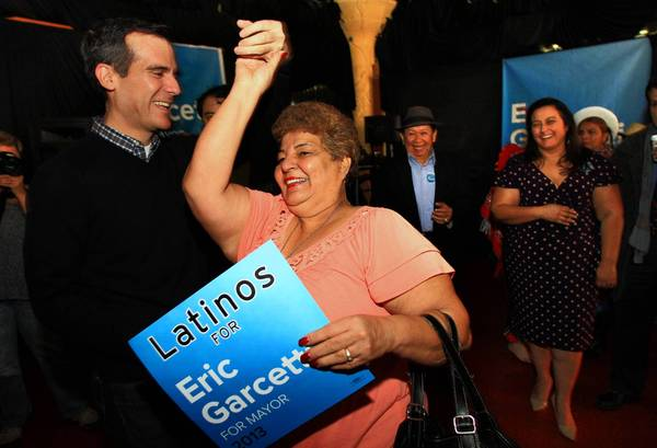 Eric Garcetti is facing questions about whether he is Hispanic enough to be mayor of L.A. (Los Angeles Times photo)