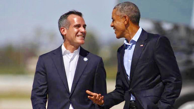Los Angeles Mayor Eric Garretti, here greeting then President Barak Obama, has let it be known that he is thinking of running for the Presidency.