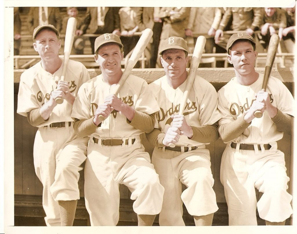 Pete Reiser, far right, with 1940s Brooklyn Dodgers teammates Dixie Walker, Joe Medwick, Dolph Camilli.