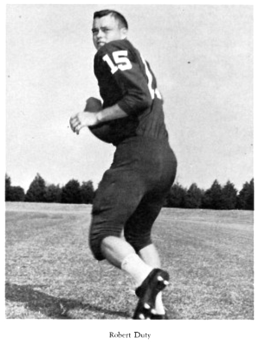 Robert Duty in a sports media photo at North Texas State University, 1960.