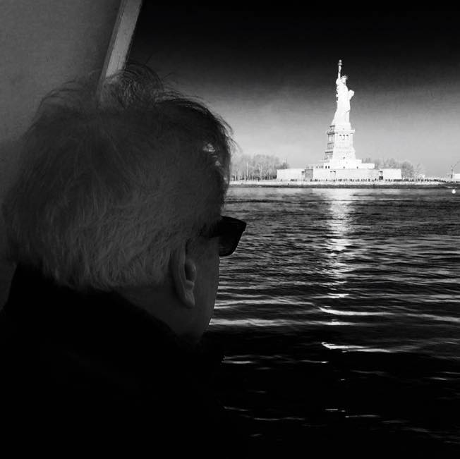 My friend Robert Pharr of Dallas, Texas, looks upon Lady Liberty on a recent visit to New York. (Copyright 2015, John Robert Pharr)
