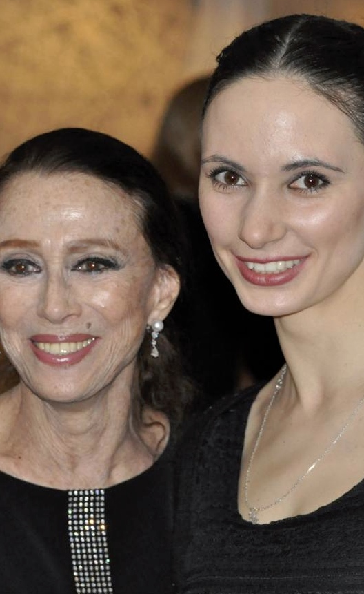 Ballerinas Maya Plisetskaya and Luidmila Konovalova at the legendary Russian ballet icon's 85th birthday gala where Konovalova performed her signature Black Swan pas de deux. (Courtesy of Liudmila Konovalova, © Copyright 2016.)