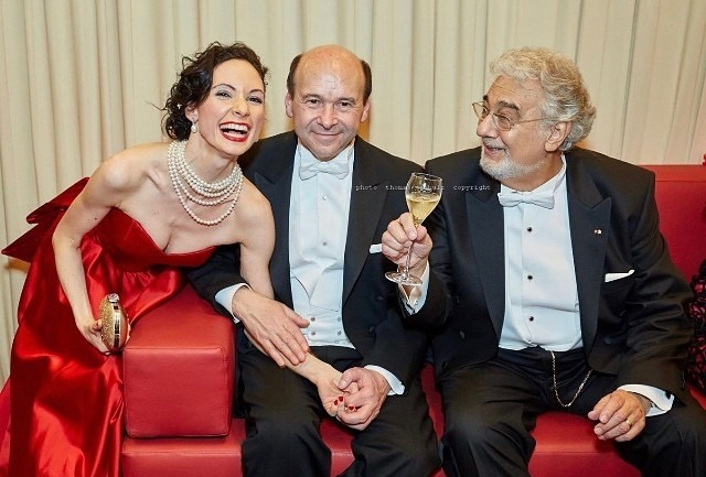 Liudmila Konovalova with Vienna Opera direct or Dominique Meyer and Maestro Placido Domingo at the 2016 Opera Ball Feb. 4 .