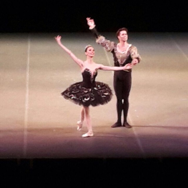 Liudmila Konovalova and Matthew Golding take their bows after performing the Black Swan pas de deux at the Maya Plisetskaya gala in London March 7.