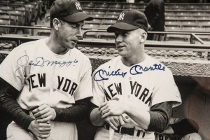 Joe DiMaggio and Mickey Mantle as rookies on the 1951 New York Yankees team.
