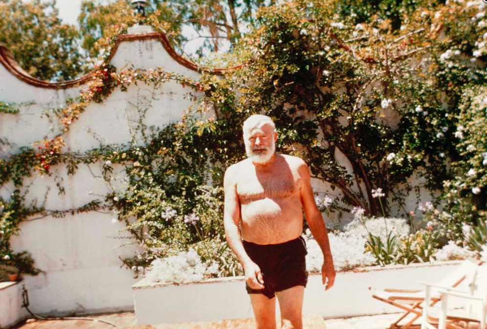 Ernest Hemingway, just days before turning 60, steps out of the swimming pool at the Davis family villa where he spent the summer o 1959. (From 'Looking for Hemingway' (Lyons Press)
