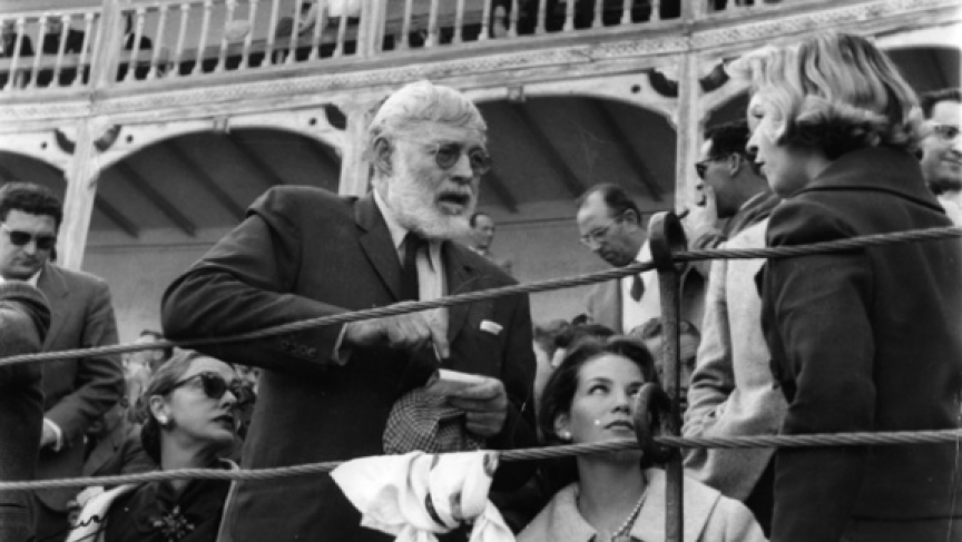 Hemingway entertains two young women he added to his entourage traveling from bullfight to bullfight in Spain, 1959. (From 'Looking for Hemingway,' Lyons Press)