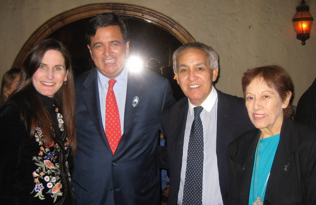 Lucy Casado, right, with Renee LaSalle, former New Mexico Gov. Bill Richardson and Tony Castro at a presidential campaign fund-raising event at Lucy's El Adobe in Hollywood. Photo by Ryan LaSalle-Castro